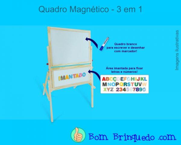quadro magnetico 3 em 1 carimbras bom brinquedo
